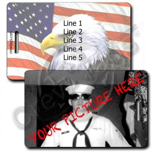 PERSONALIZED PHOTO LUGGAGE TAG - AMERICAN FLAG & EAGLE