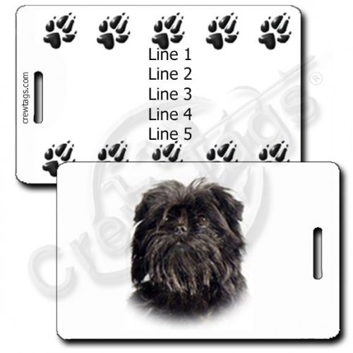 AFFENPINSCHER PERSONALIZED LUGGAGE TAGS WITH PAW PRINT BACK