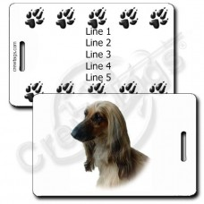 AFGHAN HOUND PERSONALIZED LUGGAGE TAGS WITH PAW PRINT BACK
