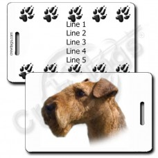AIREDALE TERRIER LUGGAGE TAGS WITH PAW PRINT BACK