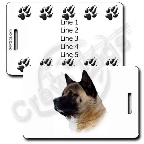 AKITA PERSONALIZED LUGGAGE TAGS WITH PAW PRINT BACK