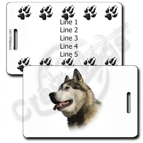 ALASKAN MALAMUTE PERSONALIZED LUGGAGE TAGS WITH PAW PRINT BACK