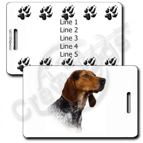 AMERICAN ENGLISH COONHOUND PERSONALIZED LUGGAGE TAGS WITH PAW PRINT BACK