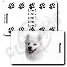 AMERICAN ESKIMO DOG LUGGAGE TAGS WITH PERSONALIZED PAW PRINT BACK