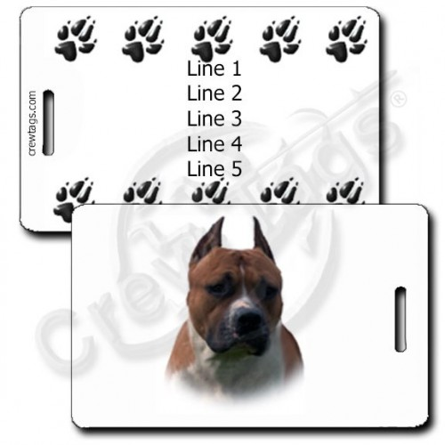 AMERICAN STAFFORDSHIRE TERRIER WITH PERSONALZIED PAW PRINTS LUGGAGE TAGS