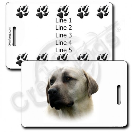 ANATOLIAN SHEPHERD PERSONALIZED LUGGAGE TAGS WITH PAW PRINT BACK