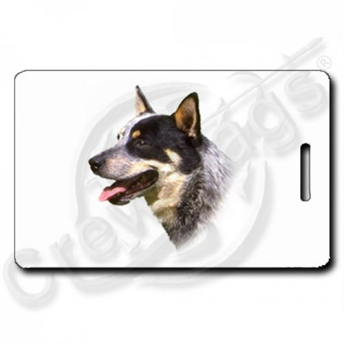 AUSTRALIAN CATTLE DOG LUGGAGE TAGS WITH PAW PRINT BACK