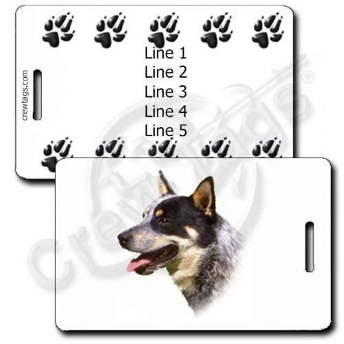 PERSONALIZED AUSTRALIAN CATTLE DOG LUGGAGE TAGS WITH PAW PRINT BACK