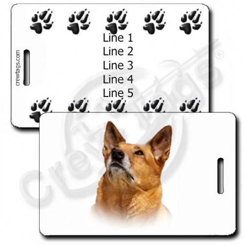 AUSTRALIAN CATTLE DOG PERSONALIZED LUGGAGE TAG WITH PAW PRINTS - RED