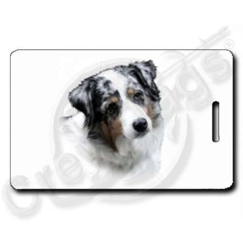 AUSTRALIAN SHEPHERD LUGGAGE TAGS - BLUE