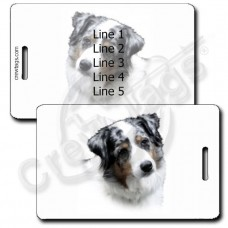 PERSONALIZED AUSTRALIAN SHEPHERD LUGGAGE TAGS - BLUE