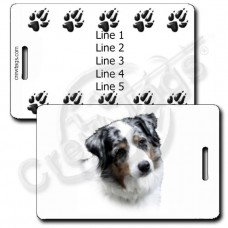 AUSTRALIAN SHEPHERD LUGGAGE TAGS WITH PAW PRINT BACK- BLUE