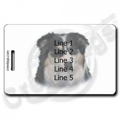 PERSONALIZED AUSTRALIAN SHEPHERD LUGGAGE TAGS WITH PAW PRINT BACK
