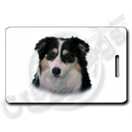 AUSTRALIAN SHEPHERD LUGGAGE TAGS WITH PAW PRINT BACK