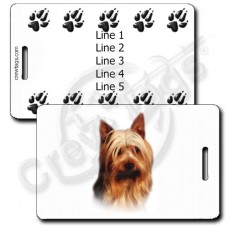 AUSTRALIAN SILKY TERRIER LUGGAGE TAGS WITH PAW PRINT BACK