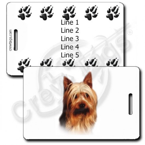 PERSONALIZED AUSTRALIAN SILKY TERRIER LUGGAGE TAG WITH PAW PRINT BACK