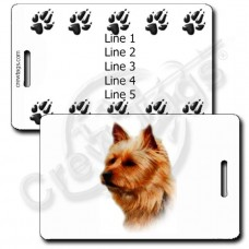 PERSONALIZED AUSTRALIAN TERRIER LUGGAGE TAG WITH PAW PRINT BACK