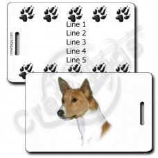 PERSONALIZED BASENJI LUGGAGE TAG WITH PAW PRINT BACK