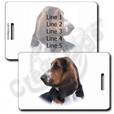 PERSONALIZED BASSET HOUND LUGGAGE TAG