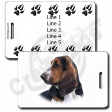 PERSONALIZED BASSET HOUND LUGGAGE TAG WITH PAW PRINT BACK