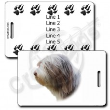 PERSONALIZED BEARDED COLLIE LUGGAGE TAGS WITH PAW PRINT BACK