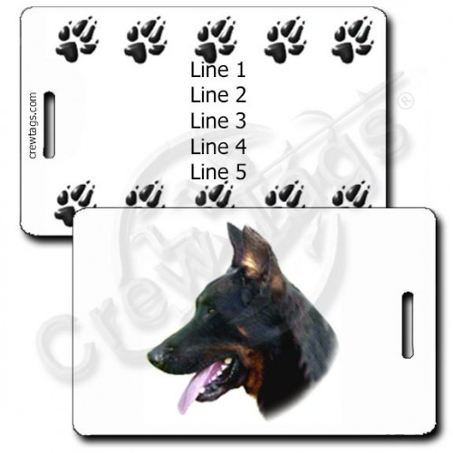 PERSONALIZED BEAUCERON LUGGAGE TAG WITH PAW PRINT BACK