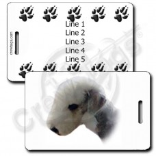 PERSONALIZED BEDLINGTON TERRIER LUGGAGE TAG WITH PAW PRINT BACK