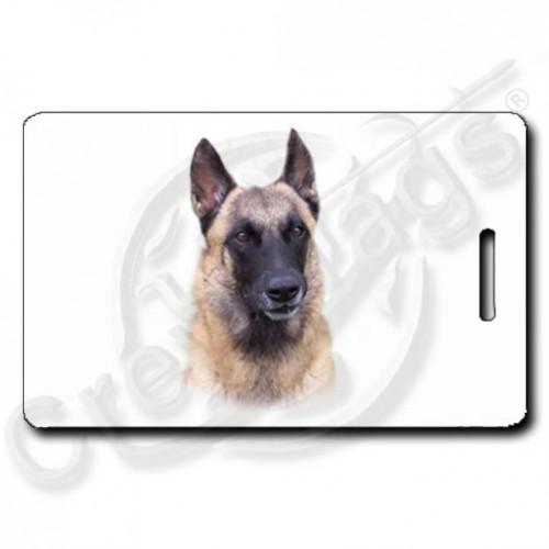 BELGIAN MALINOIS LUGGAGE TAGS WITH PAW PRINT BACK