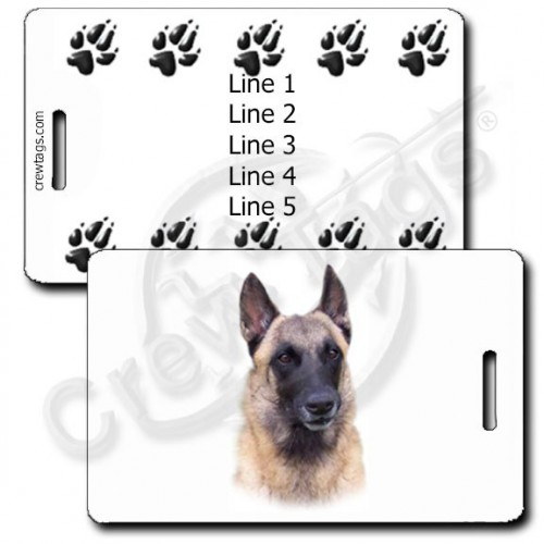 PERSONALIZED BELGIAN MALINOIS LUGGAGE TAGS WITH PAW PRINT BACK