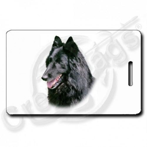 BELGIAN SHEEPDOG LUGGAGE TAGS WITH PAW PRINT BACK