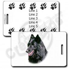 PERSONALIZED BELGIAN SHEEPDOG LUGGAGE TAGS WITH PAW PRINT BACK