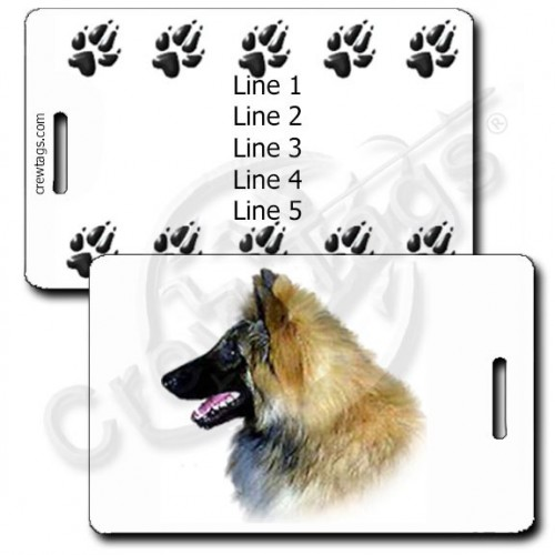 PERSONALIZED BELGIAN TERVUREN LUGGAGE TAGS WITH PAW PRINT BACK
