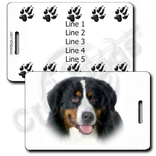 PERSONALIZED BERNESE MOUNTAIN DOG LUGGAGE TAGS WITH PAW PRINT BACK