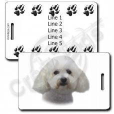 PERSONALIZED BICHON FRISE LUGGAGE TAGS WITH PAW PRINT BACK