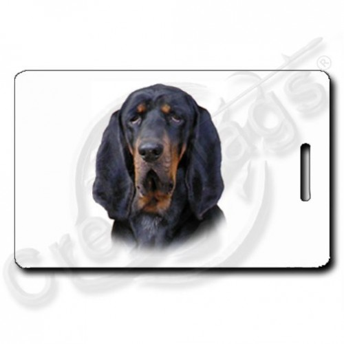 BLACK AND TAN COONHOUND PERSONALIZED LUGGAGE TAGS WITH PAW PRINT BACK
