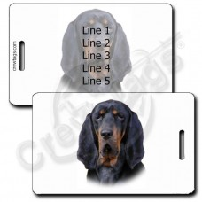 PERSONALIZED BLACK AND TAN COONHOUND LUGGAGE TAGS