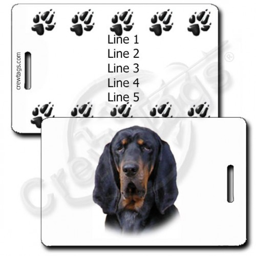 PERSONALIZED BLACK AND TAN COONHOUND LUGGAGE TAGS WITH PAW PRINT BACK