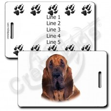 PERSONALIZEDBLOODHOUND LUGGAGE TAG WITH PAW PRINT BACK