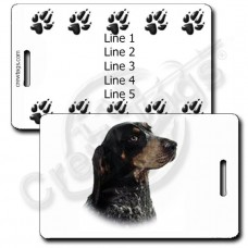 PERSONALIZED BLUETICK COONHOUND LUGGAGE TAGS WITH PAW PRINT BACK