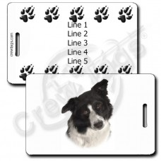BORDER COLLIE LUGGAGE TAGS WITH PAW PRINT BACK