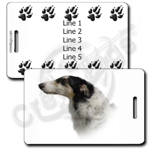 PERSONALIZED BORZOI LUGGAGE TAGS WITH PAW PRINT BACK