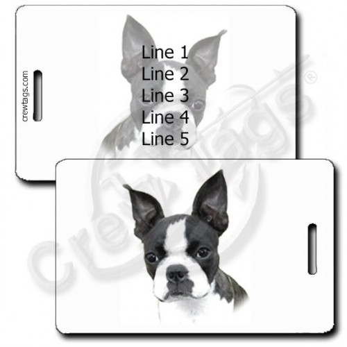 PERSONALIZED BOSTON TERRIER LUGGAGE TAGS
