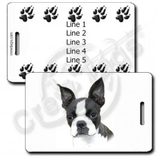PERSONALIZED BOSTON TERRIER LUGGAGE TAGS WITH PAW PRINT BACK