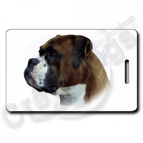 BOXER LUGGAGE TAGS WITH PAW PRINT BACK