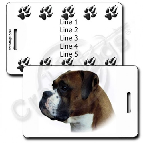 PERSONALIZED BOXER LUGGAGE TAGS WITH PAW PRINT BACK