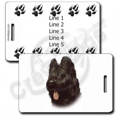 PERSONALIZED BRIARD LUGGAGE TAGS WITH PAW PRINT BACK