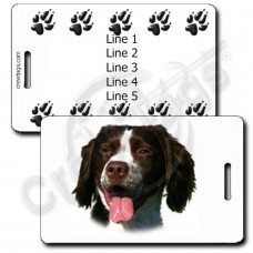 PERSONALIZED BRITTANY LUGGAGE TAGS WITH PAW PRINT BACK