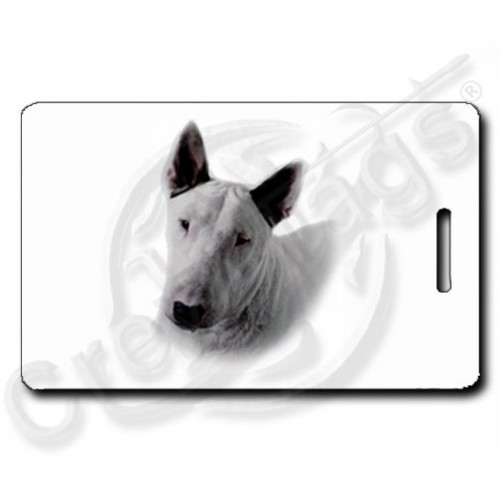 BULL TERRIER LUGGAGE TAG WITH PAW PRINT BACK