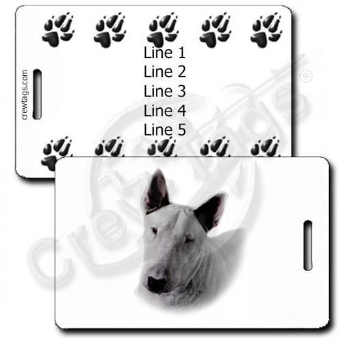 PERSONALIZED BULL TERRIER LUGGAGE TAGS WITH PAW PRINT BACK