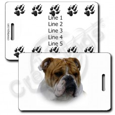 PERSONALIZED BULLDOG LUGGAGE TAGS WITH PAW PRINT BACK